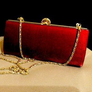 Jendi Satin Burgundy Red Evening Clutch/Bag ~ NEW